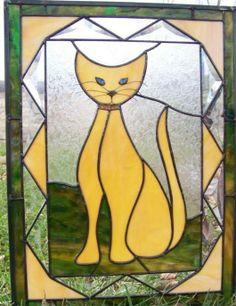 Folk Art Cat Siamese - by New View Art Glass