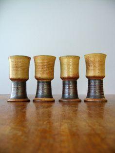 Vintage Victoria Littlejohn Goblets / Vases Signed Studio by luola