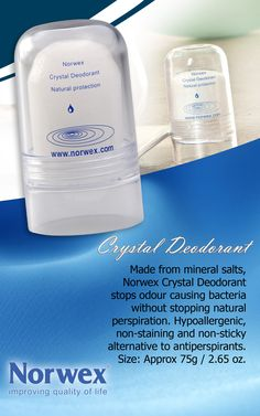 Norwex #Deodorant Stone is made from crystallized natural mineral salts which kill odor causing bacteria. It contains no harmful chemicals, oils, perfumes or emulsifiers.  The ammonium alum in this product cannot penetrate the skin, and therefore, does not enter the body or clog the pores. Your body is allowed to perspire naturally, yet the salt inhibits the growth of bacteria, therefore preventing body odor.