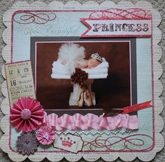 My Minds Eye Princess papers, what a sweet baby picture! Wedding Scrapbook, Baby Scrapbook, Scrapbook Cards, Baby Pictures, Baby Photos, Scrapbooking 101, Baby Girl Cards, Baby Album, Toddler Preschool