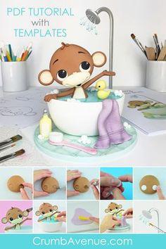 Birthday cupcakes fondant gum paste 45 ideas for 2019 Jungle Cupcakes, Baby Shower Cupcakes, Shower Cakes, Birthday Cupcakes, Fondant Cake Toppers, Fondant Cupcakes, Cupcake Toppers, Cupcake Cakes, Fondant Bow
