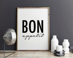 New to StyleScoutDesign on Etsy: Bon appetit fashion poster quote art print for coffee shop (5.44 USD)