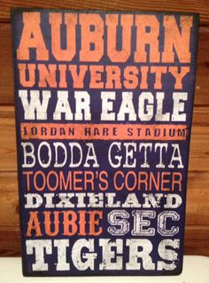 Auburn University Distressed Wood Sign Go War Eagles by SignNiche, $36.00