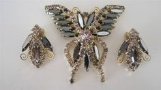Gorgeous Vintage Hobe 1965 Sparkling Butterfly Brooch and Earrings Demi Parure | eBay