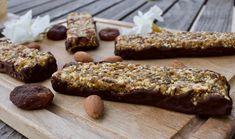 Barres de céréales crues abricots-amandes-chocolat