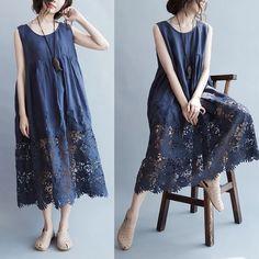 Blue lace loose dresses 6.30 new arrivals
