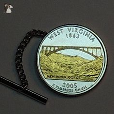 West Virginia Statehood Quarter - Gorgeous 2-Toned Gold on Silver Coin - Tie tacks - Groom cufflinks and tie clips (*Amazon Partner-Link)