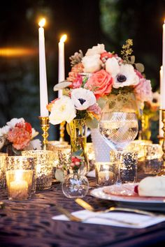 milk glass, mercury glass, candlesticks...beautiful    Photography By / http://jessicasphoto.com