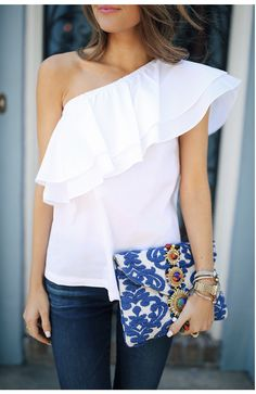 SPRING AND SUMMER TRENDS!  Love this one shoulder white ruffle shirt. Try STITCH FIX today to get looks just like these!  Just click the picture to get started with your own personal stylist. #affiliatelink
