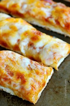 Cheesy Garlic Pizza Sticks. Perfect for a kid's slumber party!