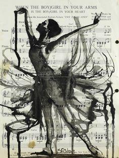 "Ink 2013 Drawing ""In Your Arms"" love the music sheet as a background! Music art dance all beautiful art Art Brut, Dance Art, Photomontage, Art Plastique, Oeuvre D'art, Love Art, Painting & Drawing, Painting Lessons, Urban Art"