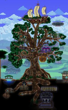 Are you kidding me? This is amazing. #goals Giant Living TreeHouse take2 #Terraria