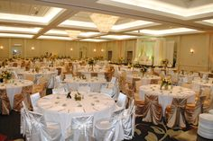 Our MN Valley Ballroom, seating up to 500 or more guests!  This elegant white and gold reception looked amazing.