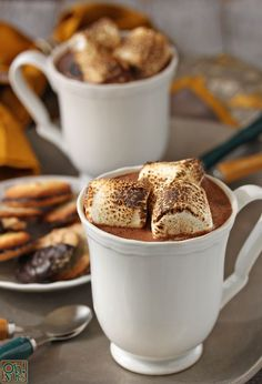 {recipe} Toasted Marshmallow Hot Chocolate - with toasted marshmallows actually melted INTO the hot chocolate! Roasting Marshmallows, Chocolate Marshmallows, Hot Chocolate Bars, Hot Chocolate Recipes, Homemade Chocolate, Toasted Marshmallow Hot Chocolate Recipe, Marshmallow Recipes, Vegan Chocolate, Cocoa Recipes