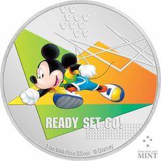 Disney Sports - Auf die Plätze, fertig, los! 1 Unze Feinsilber Disney Micky Maus, One Coin, Dynamic Design, Mickey Mouse And Friends, Effigy, Track And Field, Coin Collecting, Sport, Random Stuff