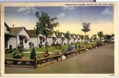 BAY CITY MI Linden-Hoff Cabins  L.L.Cook Co postcard