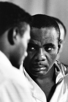 Heavyweight champ Sonny Liston glares at Floyd Patterson during the weight-in for their second title bout in two years, Las Vegas 1963 © Bill Ray