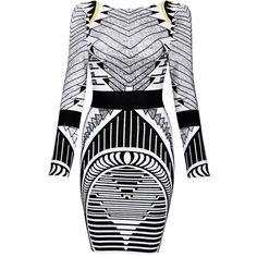 Long Sleeve Geometrical Print Mini Bandage Party Dresses Long Sleeve (305 BRL) ❤ liked on Polyvore featuring dresses, bodycon dress, geometric dress, scoop neck dress, geometric bodycon dress and bandage dress