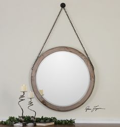 Rustic Round Wood Wall Mirror Hanging Chain Large for sale online Round Wood Mirror, Circular Mirror, Metal Mirror, Diy Mirror, Beveled Mirror, Round Mirrors, Wall Mirrors, Bathroom Mirrors, Beveled Glass