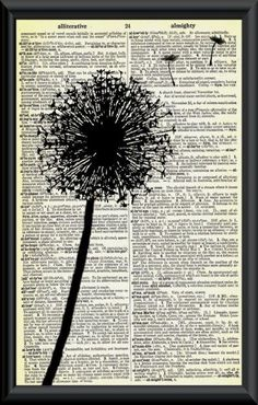Vintage Dictionary Art - add some heat embossed images and frame