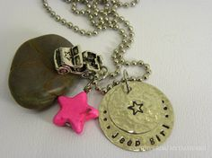 Jeep girl necklace metal stamped hand by WhisperingMetalworks, $30.00