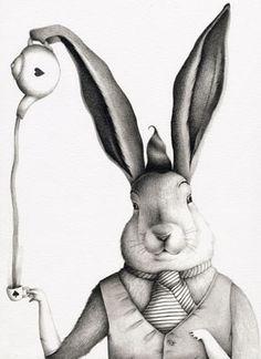 Ester Garcia - Liebre de Marzo Adventures In Wonderland, Wonderland Alice, Lewis Carroll, Tea Illustration, Gravure Illustration, Fairy Tales, Ladybird Books, Bunny Art, Bunny Bunny