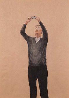 Waratah Lahy  Looking at a Work of Art VI 2009  charcoal, pastel pencil and…
