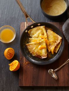 Crepes suzette were made famous in elegant Parisian restaurants at the turn of the twentieth century and have become standard French dessert fare. That they were accidentally created by a… Crepe Suzette Recipe, Breakfast Recipes, Dessert Recipes, Pie Dessert, Breakfast Ideas, Mexican Breakfast, Pancake Recipes, Breakfast Sandwiches, Breakfast Pizza