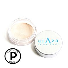 Organic Arrowroot & Natural Clay Finishing Powder -- This powder diffuses light, creating the most flawless, airbrushed finish. The translucent powder works to erase excess oil and shine. Paleo Certified Skincare #paleo #organic #crueltyfree #natural #glutenfree