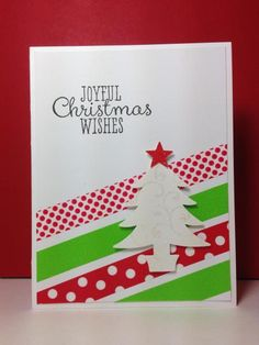 washi tape, Christmas tree punch, by beesmom - Cards and Paper Crafts at Splitcoaststampers Simple Christmas Cards, Homemade Christmas Cards, Christmas Cards To Make, Xmas Cards, Diy Cards, Handmade Christmas, Homemade Cards, Holiday Cards, Christmas Diy
