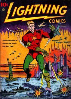 Comic Book Cover For Lightning Comics v2 #2-Date: Aug 1941