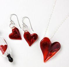 Heart Pendant and Earrings Set by JessicaLandau on Etsy, $80.00