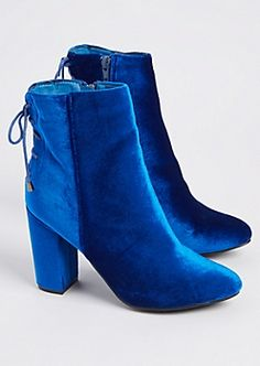 0e0096bd0c7 Blue Velvet Lace Up Booties Lace Up Booties