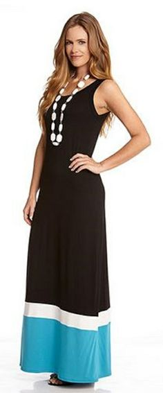 0b226cb60c6cf BLACK CONTRAST COLOR MAXI DRESS Cool color blocking takes this Karen Kane maxi  dress to new lengths. Slip into its sleeveless scoop necked style with your  ...