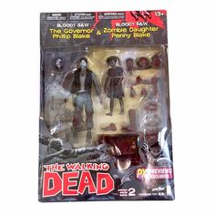 The Walking Dead Bloody B&W Governor and Daughter Action Figure Set www.CuteVintageToys.com 💖 Hundreds Of  Vintage Toys From The 80s & 90s! Follow Me & Use The Coupon Code PINTEREST For 10% Off Your ENTIRE Order! 💌 Dozens of G1 My Little Ponies, Polly Pockets, Popples, Strawberry Shortcake, Care Bears, Rainbow Brite, Moondreamers, Keypers, Disney, Fisher Price, MOTU, She-Ra Cabbage Patch Kids, Dolls, Blues Clus, Barney, Teletubbies, ET, Barbie, Sanrio, Muppets, Sesame Street, & Fairy Kei…