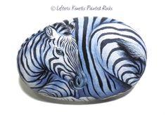 Zebra Hand Painted Rock Wild Animals Painting от RockArtAttack
