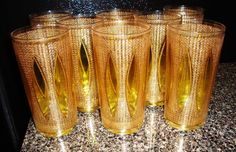 Culver Topaz Tiffany glasses - from the 40s/50s.