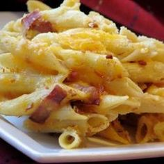 Bacon and Cheese Pasta Bake @ allrecipes.co.uk ....... easy to change up or add to (for leftover noodles and meat like ham)