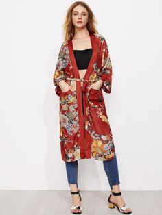 1721b856206e Shop Open Front LongLine Kimonos With Self Tie online. SheIn offers Open  Front LongLine Kimonos With Self Tie & more to fit your fashionable needs.