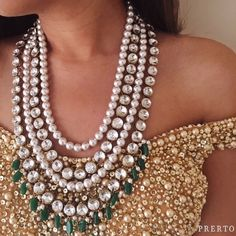 We're rocking this off-shoulder number with our #PearlAndGreenNecklace! Can't have enough #Prerto #Fashion #Love #Fashion #Luxury #AboutALook #Statement #Trend #Pearls #Favorite
