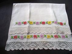 Delightful Vintage Towel Colorful Cross Stitch by VerasLinens