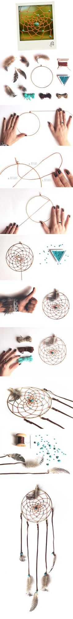 Comment fabriquer un Attrape Rêves par Fanny Rubambelle! Plus de détails sur www.rubambelle.com // Dreamcatcher Make And Sell, How To Make, Creation Deco, Paracord Projects, Boho Diy, String Art, Diy Crafts To Sell, Mobiles, Wind Chimes