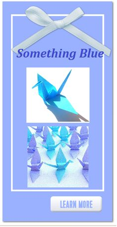 Something Blue to add to your perfect Wedding. Classy and Elegant Blue Origami Paper Cranes