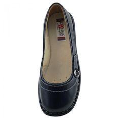 Sapatilha feminina 221 Comfort preta em Couro Donna Comfort