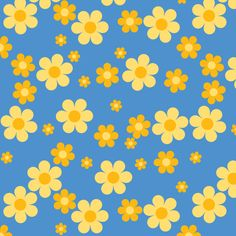 Beanie Daisies fabric by shelleymade on Spoonflower - custom fabric - Color Note: Blue and Yellow Bedroom Wall Collage, Photo Wall Collage, Picture Wall, Collage Background, Iphone Background Wallpaper, Aesthetic Iphone Wallpaper, Aesthetic Wallpapers, Hippie Wallpaper, Retro Wallpaper