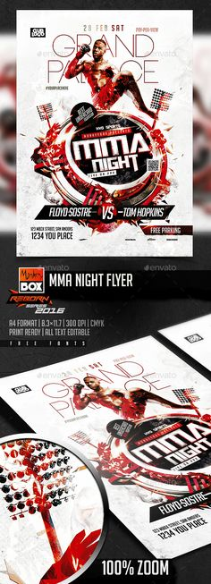 MMA Night Flyer - Sports Events Mma, Transformers Movie, Sports Flyer, Christmas Templates, Information Graphics, Flyer Template, Flyer Design, Party, Flyers