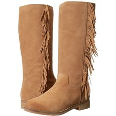 Lucky Brand Grayer Women's Pull-on Boots ($149) ❤ liked on Polyvore featuring shoes, boots, knee-high boots, knee boots, suede fringe boots, low heel boots, fringe boots and suede platform boots