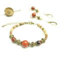 ~ Pour elle ~ Coffret cadeau de noël * pavot * . parure bracelet litho + boucles d'oreille assorties. -26,90€ -