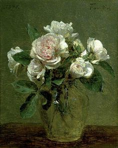 "Henri Fantin-Latour (French, ""White Roses in a Glass Vase"", 27 x 24 cm x 9 Oil on canvas (Collection Guildhall Art Gallery, London) Art Floral, Flower Vases, Flower Art, Rose In A Glass, Henri Fantin Latour, Still Life Art, Art Uk, First Art, Hermitage Museum"