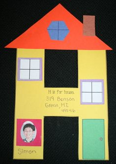 H Is For House Shape Craftivity; also use to learn address